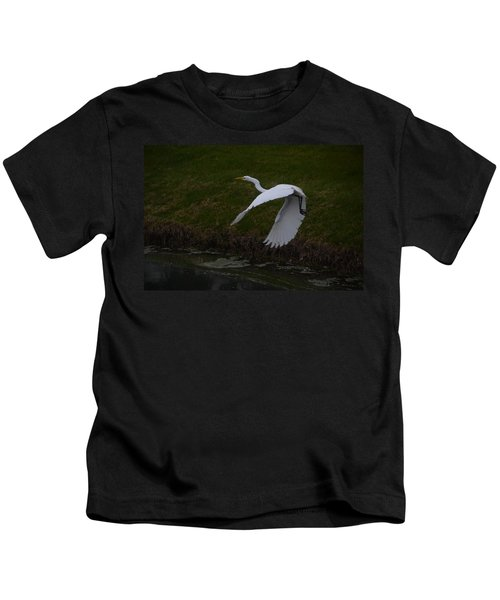 White Egret Kids T-Shirt