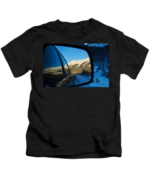 Winter Landscape Seen Through A Car Mirror Kids T-Shirt