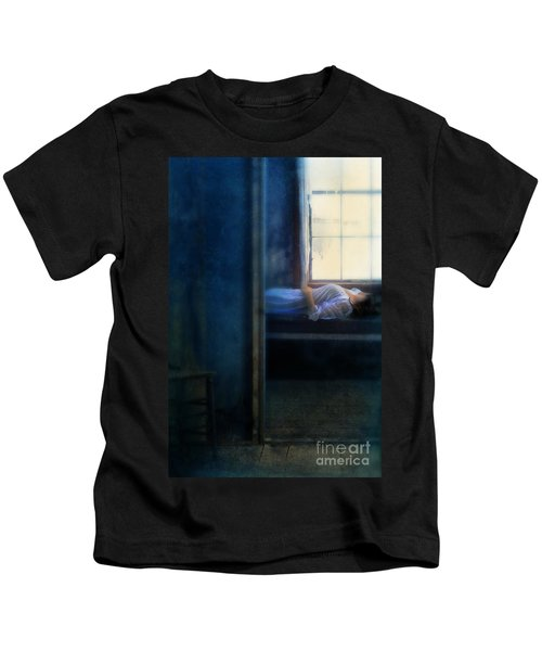Woman In Nightgown In Bed By Window Kids T-Shirt