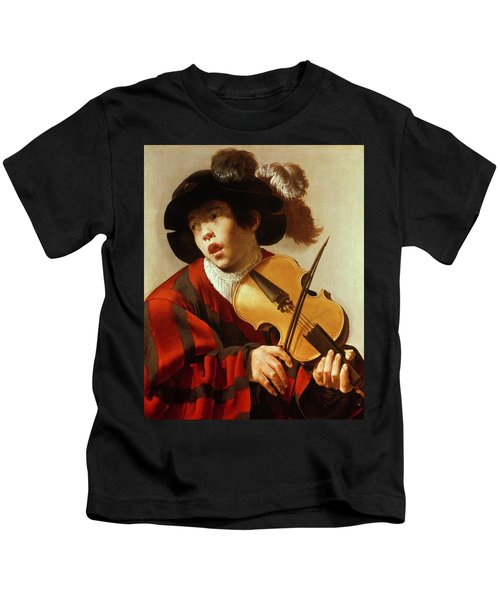 Boy Playing Stringed Instrument And Singing Kids T-Shirt