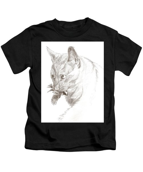 Cat And Chickadee Kids T-Shirt