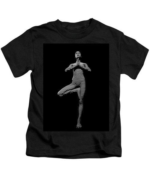 0027-dja Yoga Balance Black White Zebra Stripe Photograph By Chris Maher Kids T-Shirt