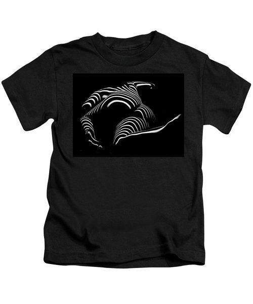0758-ar Rear View Bbw Zebra Woman Large Full Figured Powerful Female Black And White Abstract Maher Kids T-Shirt