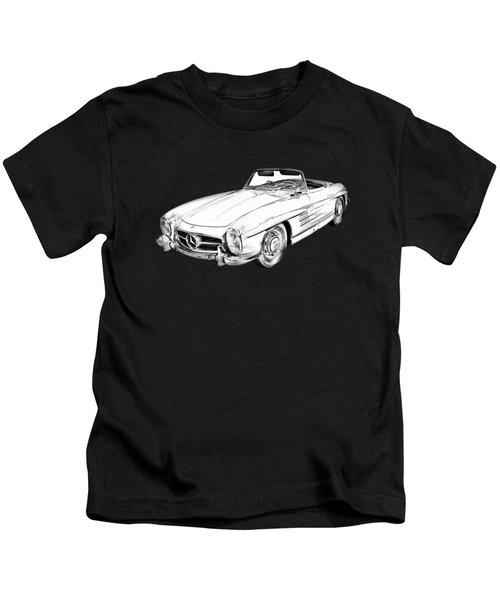 Mercedes Benz 300 Sl Convertible Illustration Kids T-Shirt