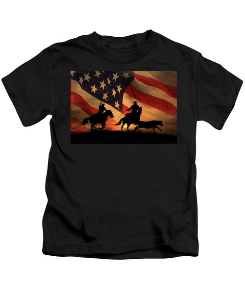 American Cowboy, Team Ropers With American Flag Kids T-Shirt