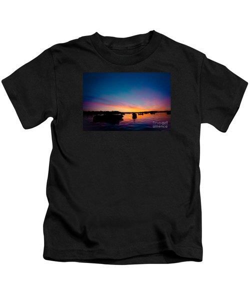 Boats And Sunrise Above Lake Water Summer Time Latvia Ezera Skanas Kids T-Shirt