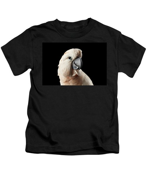 Closeup Head Of Beautiful Moluccan Cockatoo, Pink Salmon-crested Parrot Isolated On Black Background Kids T-Shirt