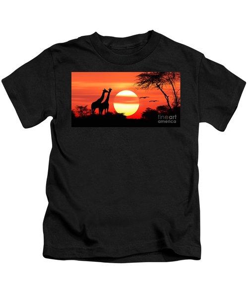 Giraffes At Sunset Kids T-Shirt