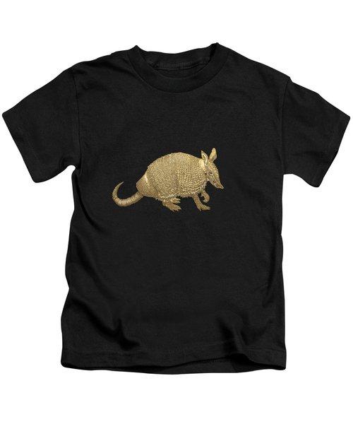 Gold Armadillo On Black Canvas Kids T-Shirt