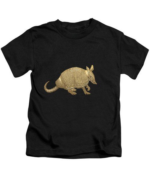 Gold Armadillo On Black Canvas Kids T-Shirt