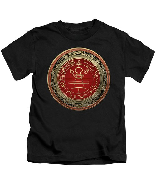 Gold Seal Of Solomon - Lesser Key Of Solomon On Black Velvet  Kids T-Shirt