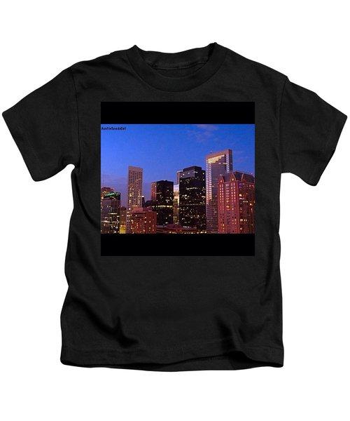 #houston #skyline At Dusk. #night Kids T-Shirt