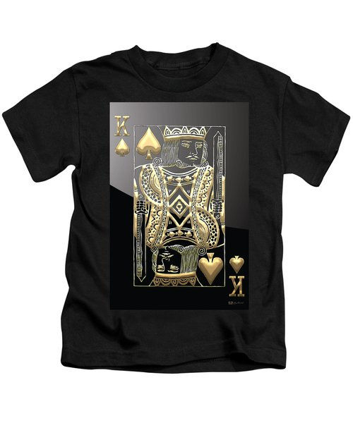 King Of Spades In Gold On Black   Kids T-Shirt