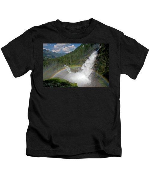 Krimml Waterfall And Rainbow Kids T-Shirt