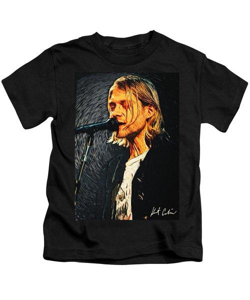 Kurt Cobain Kids T-Shirt by Taylan Apukovska