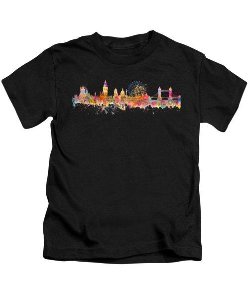 London Skyline Watercolor Kids T-Shirt