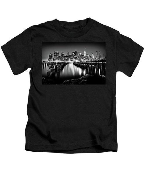 Manhattan Skyline At Night Kids T-Shirt