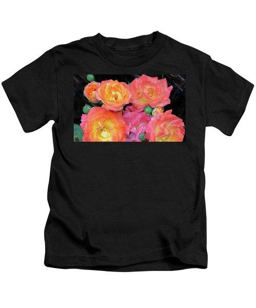 Multi-color Roses Kids T-Shirt