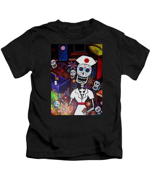 Nurse Dia De Los Muertos  Kids T-Shirt