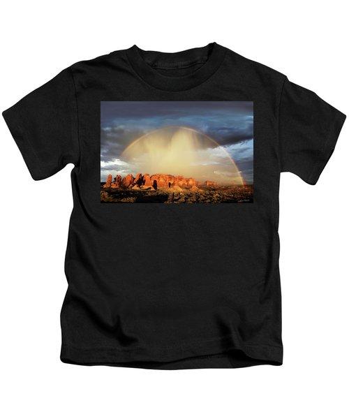 Rainbow Over Garden Of Eden Kids T-Shirt