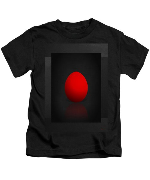 Red Egg On Black Canvas  Kids T-Shirt
