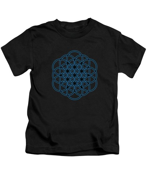 Sacred Geometry - Black Flower Of Life - Seed Of Life With Blue Halo Over Black Canvas Kids T-Shirt