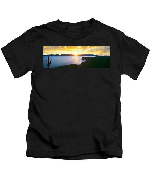 Silhouette Of Lone Cardon Cactus Plant Kids T-Shirt