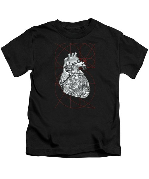 Silver Human Heart On Black Canvas Kids T-Shirt