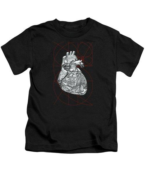 Silver Human Heart On Black Canvas Kids T-Shirt
