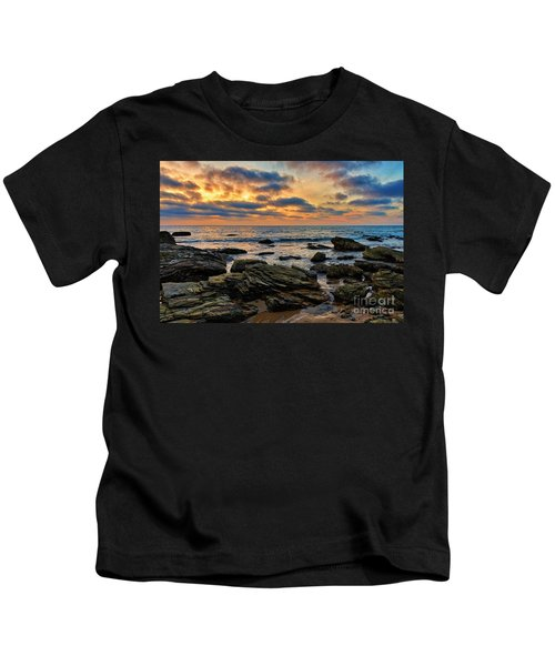 Sunset At Crystal Cove Kids T-Shirt