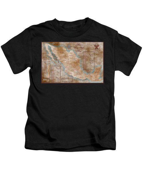 Mexico Surf Map  Kids T-Shirt by Lucan Hirales