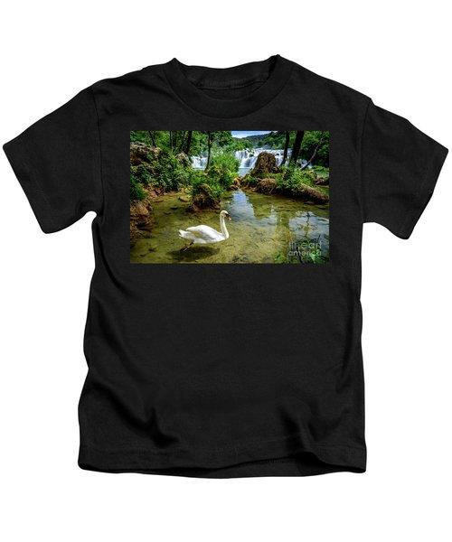 Swan In The Waterfalls Of Skradinski Buk At Krka National Park In Croatia Kids T-Shirt
