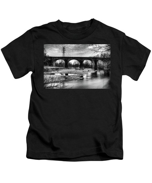 Thomas Viaduct In Black And White Kids T-Shirt