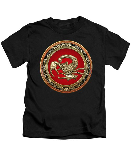 Treasure Trove - Sacred Golden Scorpion On Black Kids T-Shirt