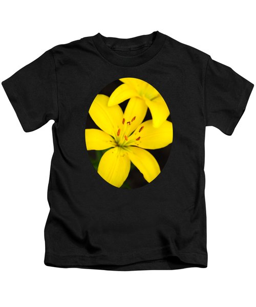 Yellow Lily Flower Kids T-Shirt by Christina Rollo