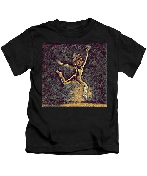 1307s-dancer Leap Fit Black Woman Bare And Free Kids T-Shirt