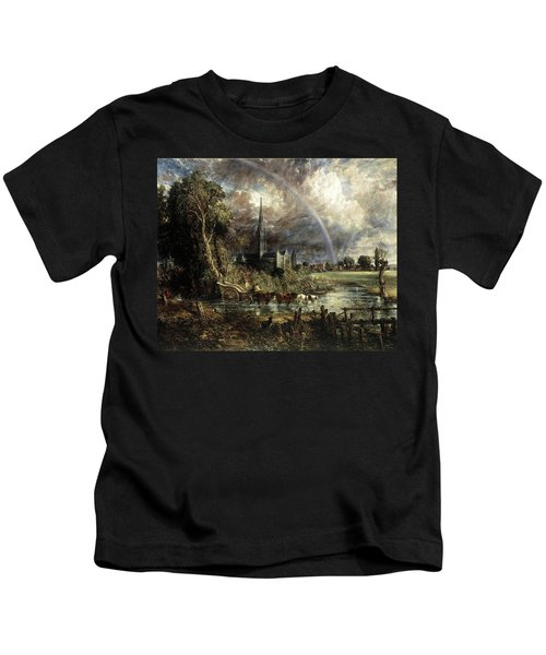 Salisbury Cathedral From The Meadows Kids T-Shirt