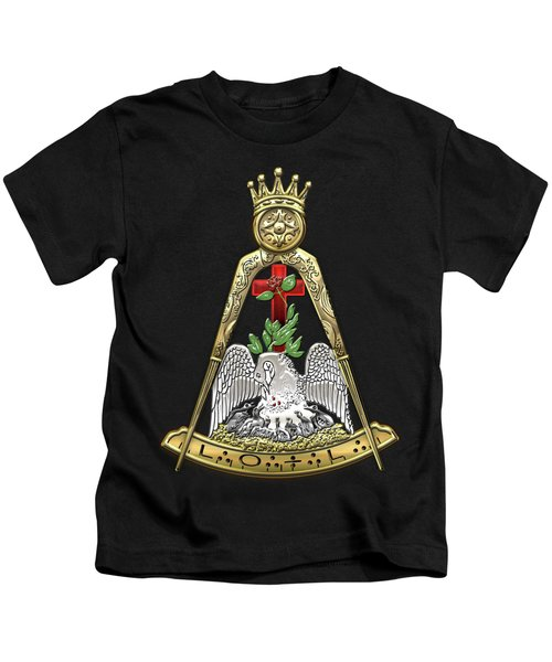 18th Degree Mason - Knight Rose Croix Masonic Jewel  Kids T-Shirt by Serge Averbukh