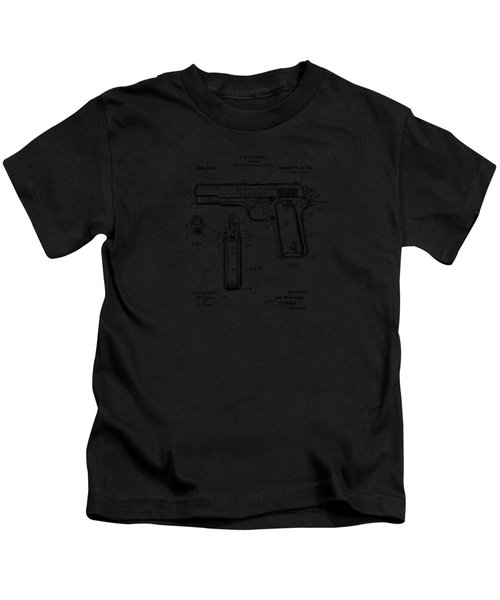 1911 Colt 45 Browning Firearm Patent Artwork Vintage Kids T-Shirt