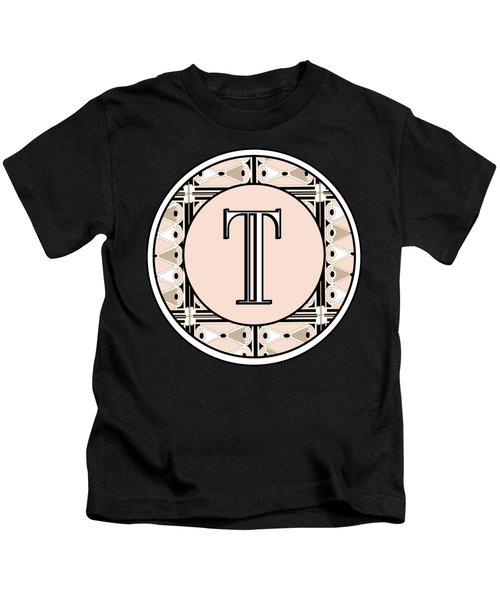 1920s Pink Champagne Deco Monogram  T Kids T-Shirt