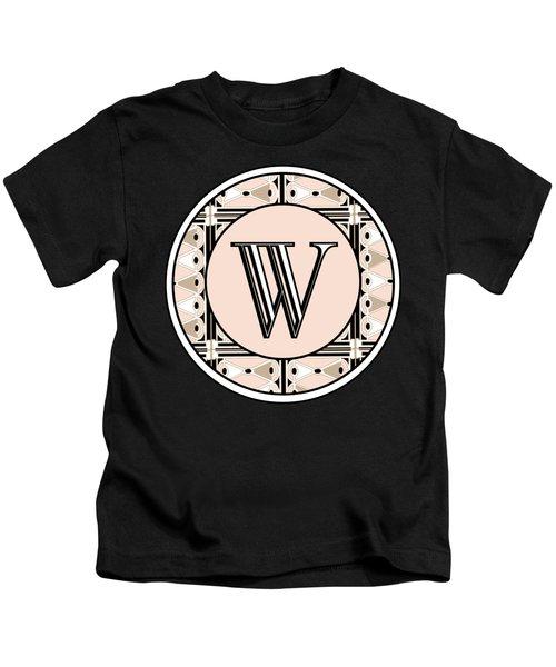 1920s Pink Champagne Deco Monogram  W Kids T-Shirt