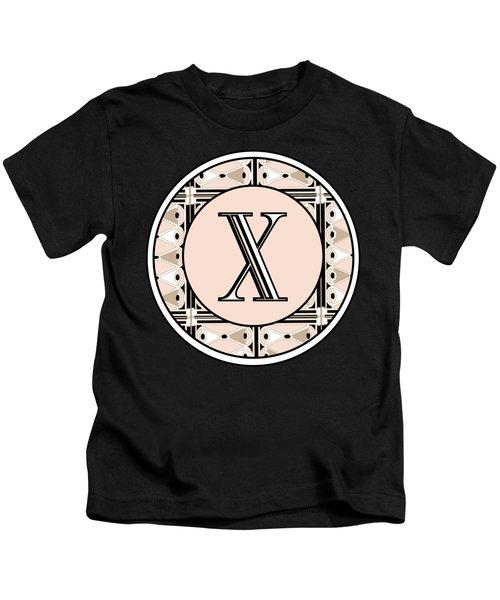 1920s Pink Champagne Deco Monogram  X Kids T-Shirt