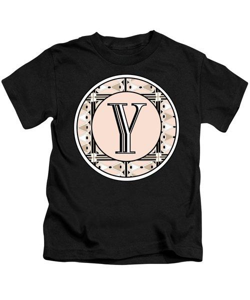 1920s Pink Champagne Deco  Monogram  Y Kids T-Shirt