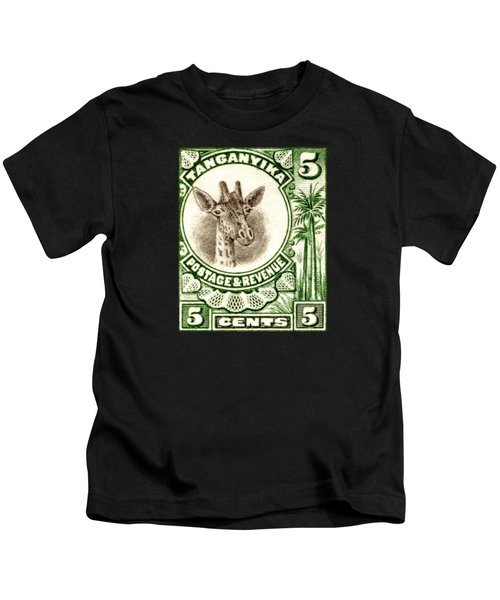 1922 East African Giraffe Stamp Kids T-Shirt by Historic Image