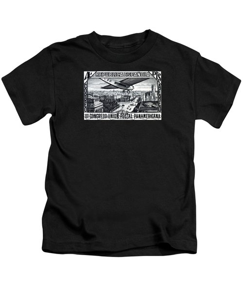1931 Airplane Over Calle De Alcala, Spain Kids T-Shirt