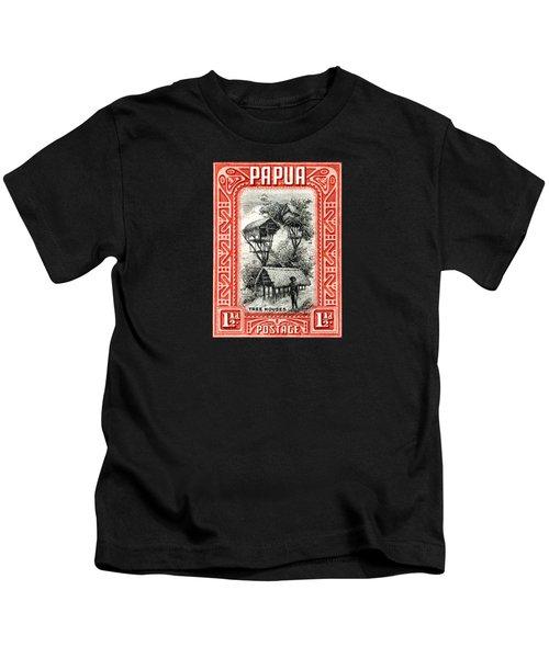 1932 Papua Tree Houses Stamp Kids T-Shirt