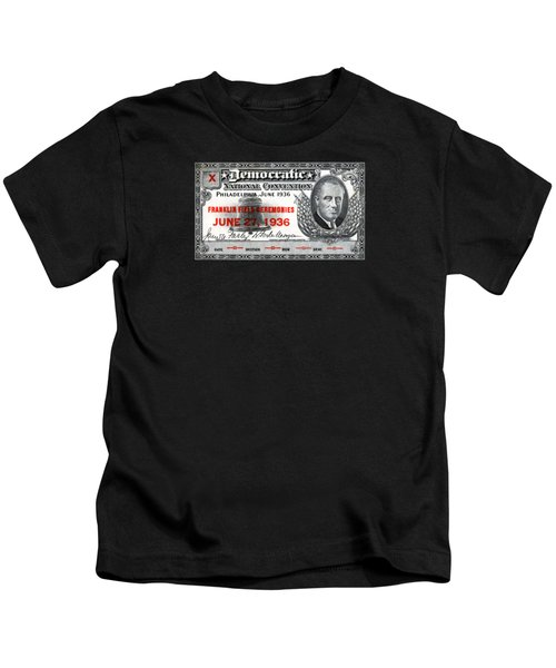 1936 Democrat National Convention Ticket Kids T-Shirt by Historic Image