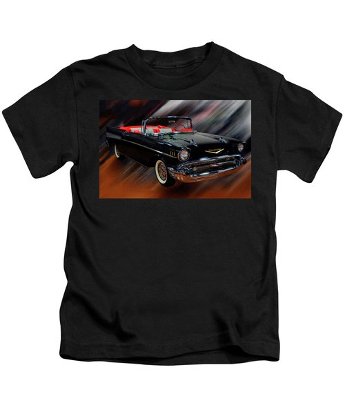 1957 Chevy Bel Air Convertible Digital Oil Kids T-Shirt