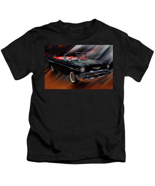 1957 Chevy Bel Air Convertible Digital Oil Kids T-Shirt