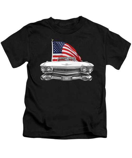 1959 Cadillac With Us Flag Kids T-Shirt